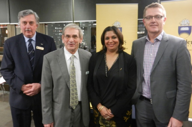 (L to R) Professor Andrew Parkin, Deputy Vice-Chancellor (Academic) Flinders University; Professor Don Debats, Chair of Fulbright Board of Directors; Dr Tangerine Holt, Fulbright Executive Director; Professor Colin Stirling, Vice-Chancellor Flinders University
