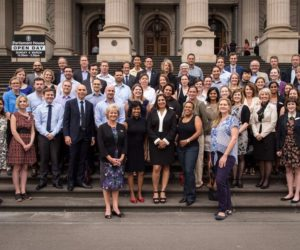 The 2015 U.S. and 2016 Australian Fulbright Scholars and Students with the Board of Directors and Commission staff on the steps of Victorian Parliament