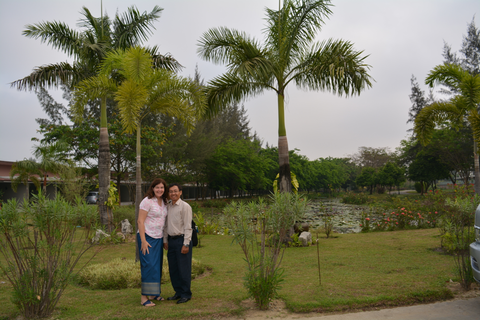 Fulbright Scholar Gail Dickinson with Chorvy Vong, Director of the Royal University of Phnom Penh's Quality Assurance Unit