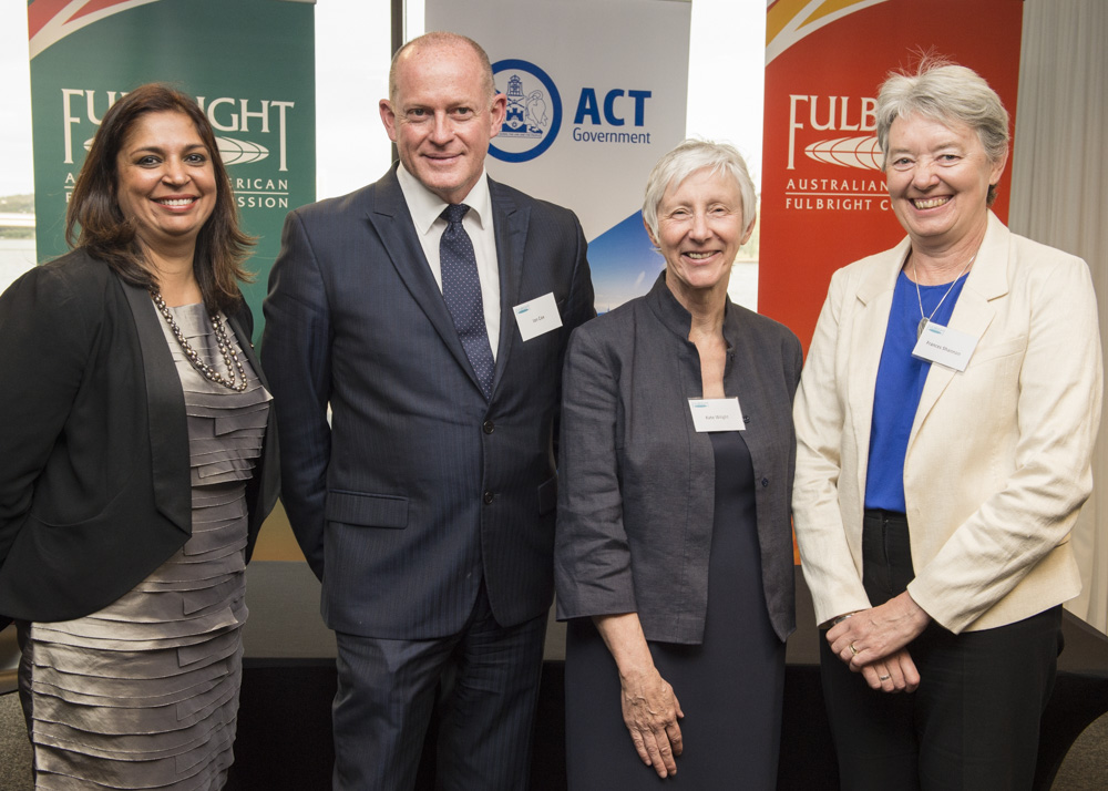 (Left to Right) Dr Tangerine Holt, Fulbright Executive Director; Mr Ian Cox, Executive Director, Innovation, Trade and Investment, ACT Government; Professor Kate Wright, Associate Deputy Vice-Chancellor, Curtin University; Professor Frances Shannon, Deputy Vice-Chancellor (Research), University of Canberra.