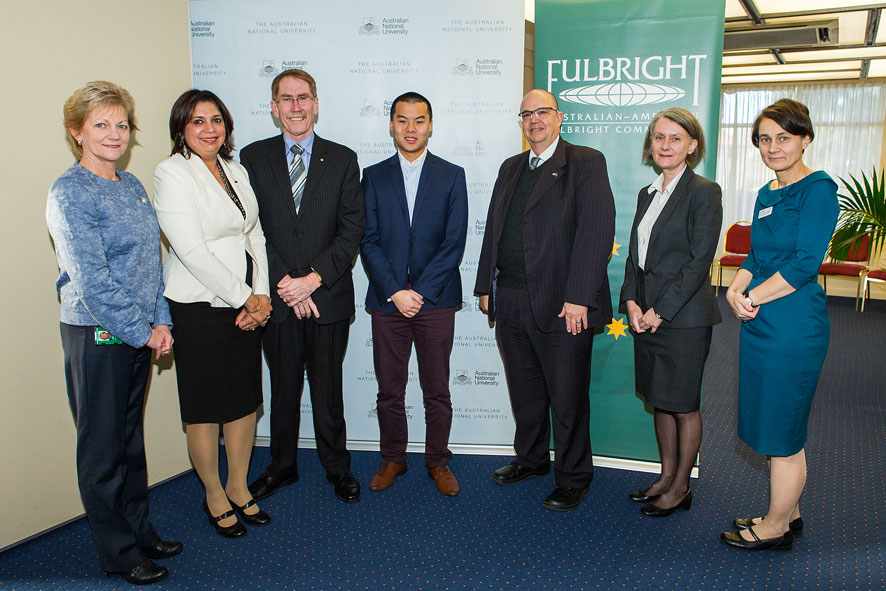 (Left to Right) Ms Anne Baly, Fulbright Board Member; Dr Tangerine Holt, Fulbright Executive Director; Professor Ian Young, ANU Vice Chancellor; Mr Josiah Khor; Fulbright Scholar; Mr Trevlyn Gilmour, US Department of State; Ms Andrea Faulkner, Fulbright Board Member; Professor Marnie Hughes-Warrington, ANU Deputy Vice Chancellor (Academic)