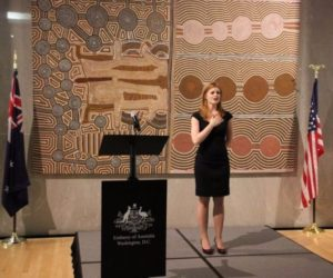 Soprano Ms Emily Casey's performance of the Australian and American National Anthems was a memorable start to the formal proceedings