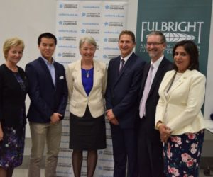 (Left to Right) Ms Anne Baly, Department of Education & Training; Mr Josiah Khor, Fulbright Scholar; Professor Frances Shannon, Deputy Vice Chancellor (Research), University of Canberra; Frofessor Thad Kousser, 2014 Fulbright-Flinders Distinguished Chair in American Political Science; Mr Paul Houge, US Embassy; Dr Tangerine Holt, Fulbright Executive Director