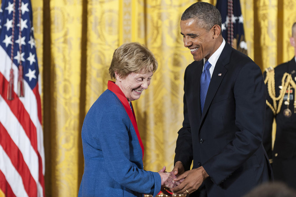 WASHINGTON, DC - JULY 10: U.S. President Barack Obama (R) presents a 2012 National Humanities Medal to Australian-American author Jill Ker Conway during a ceremony in the East Room of the White House on July 10, 2013 in Washington, DC. Conway is recognized for her contributions as a historian and trailblazing academic leader. (Photo by Pete Marovich/Getty Images)