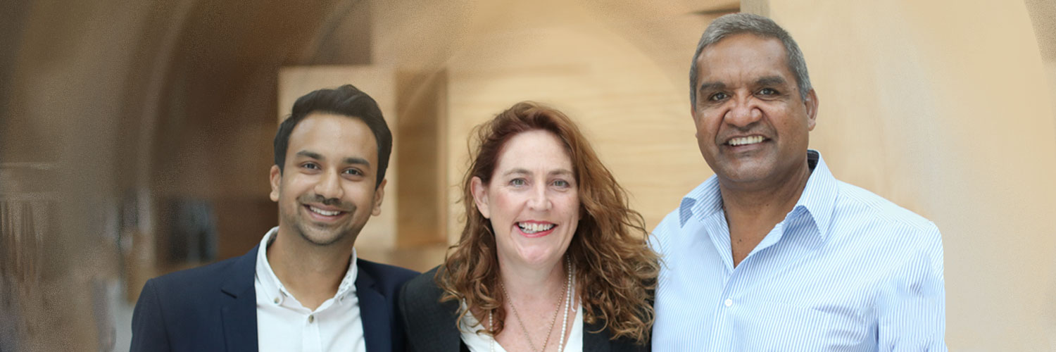 Arjun Bisen (left), with Assoc Prof Bronwen Dalton of UTS Business School and 2015 Fulbright scholar Dean Jarrett