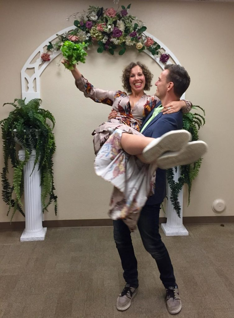 Simon Jankowski and his partner decided to get married on their last day in San Diego -- pictured here with a bouquet of coriander