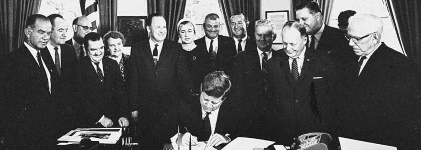 September 21, 1961 JFK signs Fulbright-Hays Act, Washington, D.C.